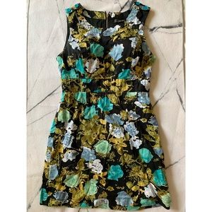 Black & blue Floral asymmetrical dress